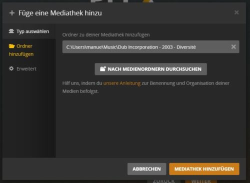 Plex Media Server Inhalte hinzufügen