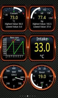 Screenshot der OBD2 App Torque Pro