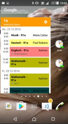 Screenshot der Untis Mobile App