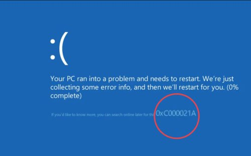 Blue Screen 0xc000021a
