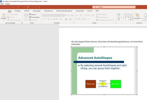 Eine einzelne PowerPoint Folie als Objekt in einem Word-Dokument