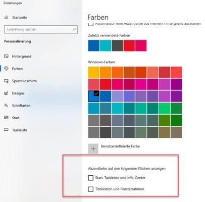 Das Design der Taskleiste über Farben ändern