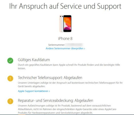 Status der Apple-Garantie