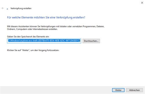 Gode Mode als Verknüpfung in Windows 10