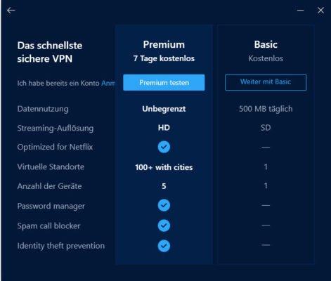 Vergleich Hotspot Shield Basic und Premium