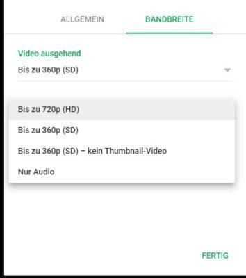 Videobandbreite einstellen