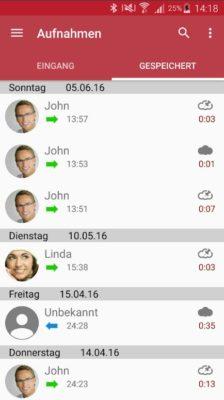 Screenshot von Anruf aufzeichnen mit Handy- und Festnetzanrufen