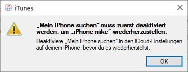 Mein iPhone suchen muss deaktiviert werden