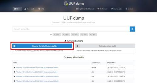 Downloadseite von UUP dump