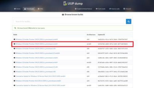 Liste aller verfügbaren UUP dumps kein IoT