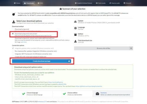 Windows 10 auf Raspberry Pi installieren: ZIP-Datei in UUP dump erstellen