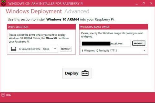 WoA Deployer GUI, Deploy auf Micro SD kein IoT