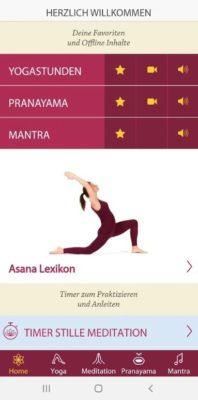 Screenshot der Yoga Vidya App