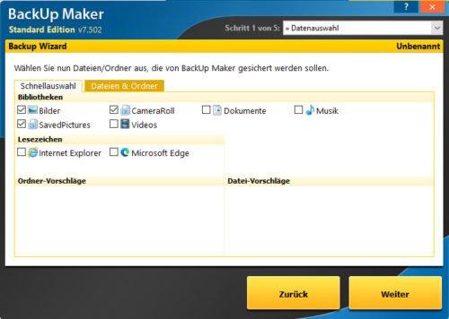 Backup Maker Datenauswahl