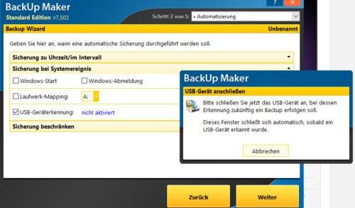 Backup Maker USB Geräteerkennung