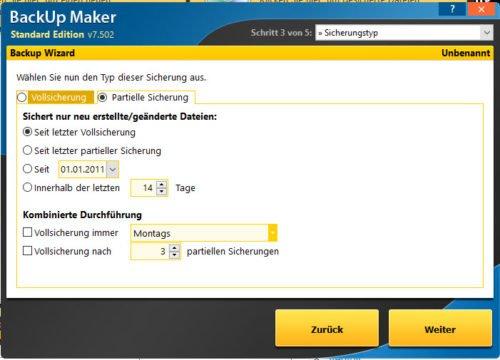 Backup Maker Sicherungsarten