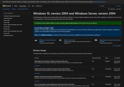 Bekannte Probleme durch Windows 10 2004