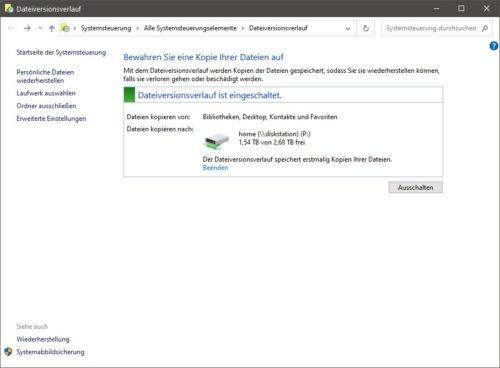Dateiversionsverlauf von Windows
