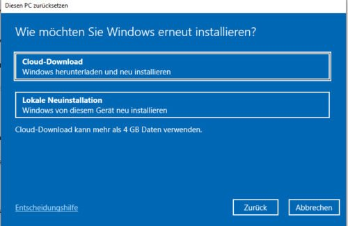 Download von Windows 10 2004 aus der Cloud