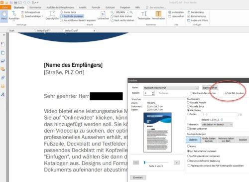 PDF-Datei als Bild drucken um PDF-Inhalte zu schwärzen