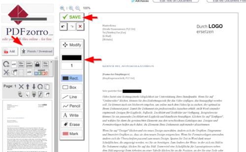 PDFZorro kann online Dokumente schwärzen