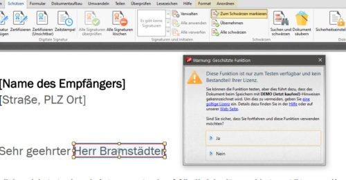 PDF-XChange-Editor mit Funktion zum Schwärzen von PDF