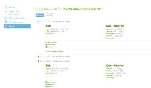 Protokoll für Sicherungen in Duplicati