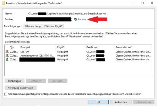 Software Reporter Tool Sicherheits-Einstellungen unter Windows 10 deutsch