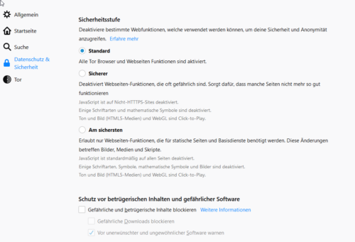 Sicherheitsstufen für den Tor-Browser