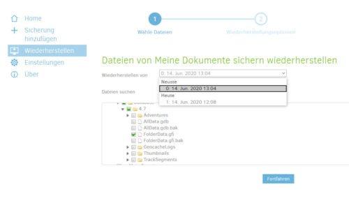 Verschiedene Versionen einer Datei in Duplicati