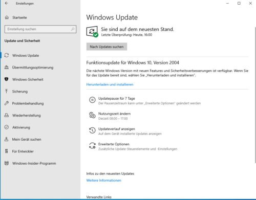 Windows 10 Version 2004 in den Updates
