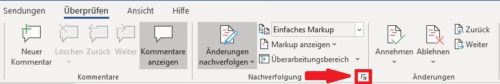 Office Word Korrekturmodus Foramtierungsoptionen