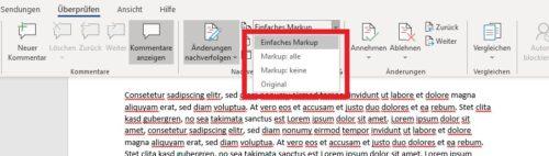 Office Word Korrekturmodus Einstellungen für Markups