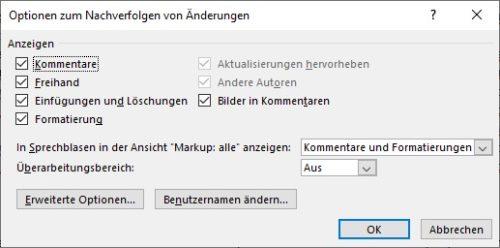"""Dialogfenster """"Erweiterte Optionen zum Nachverfolgen von Änderungen"""""""