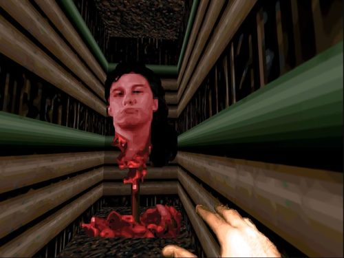 Filmsequenz aus Doom 2 mit John Romeros Kopf