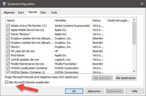 msconfig kann helfen unnötige Dienste in Windows 10 aufzuspühren