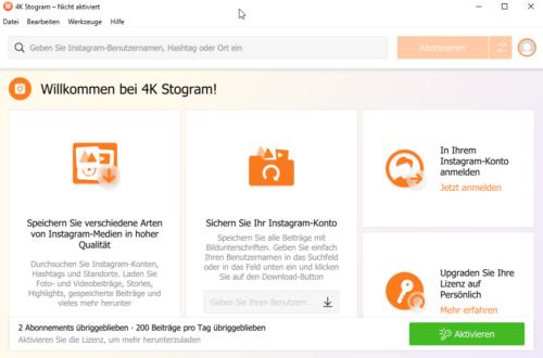 4K Stogram Hauptmenü