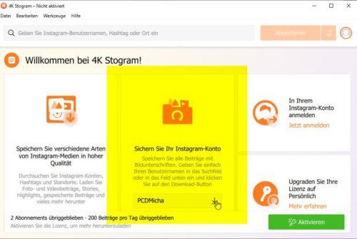 4K Stogram sichert das eigene Instagram-Konto