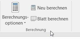 Berechnungsoptionen für automatisches Berechnen in Excel
