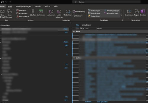 Outlook im Design Dark Mode