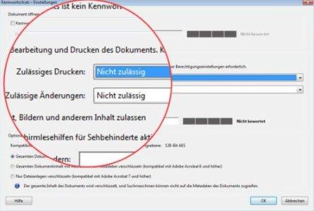 Zulässiges Drucken von PDF-Dateien