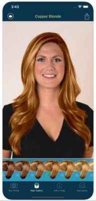 Frau mit eingefärbten Haaren in der Hair Color Studio App