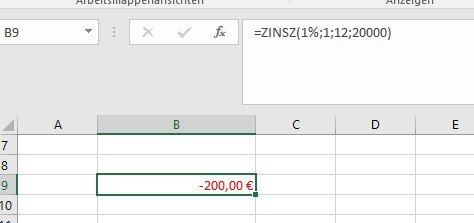Beispiel für eine Zins-Formel in Excel
