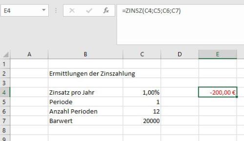 Beispiel für eine Zins-Formel mit Zellbbezügen statt festen Werten
