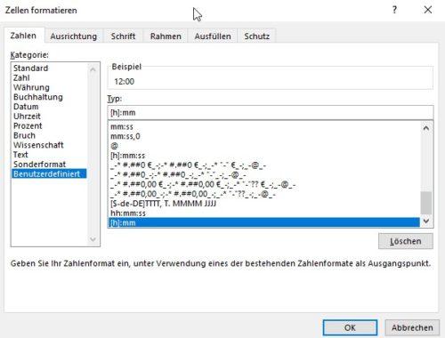 Benutzerdefiniertes Zellenformat beim Rechnen in Excel mit Uhrzeiten