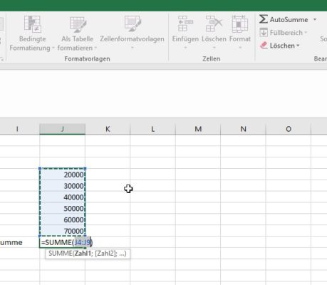 Die Funktion Autosumme in Excel