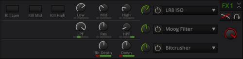 Mixxx bietet bei den Effektfiltern die Möglichkeit, diese zu verketten.
