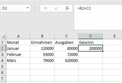 Excel berechnet den Gewinn in einem Unternehmen