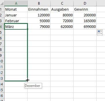 Excel vervollständigt auch Reihen wie Tage oder Monate