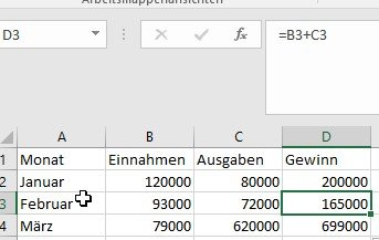 Geänderte Summenformel nach dem Herunterziehen in Excel